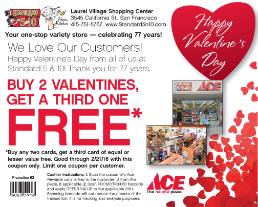 Standard 5 & 10 Ace Coupon for Valentines Day