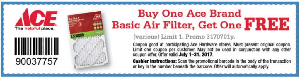 July BOGO Air Filter Coupon