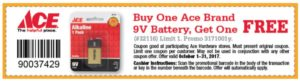 October Free 9v Battery Coupon