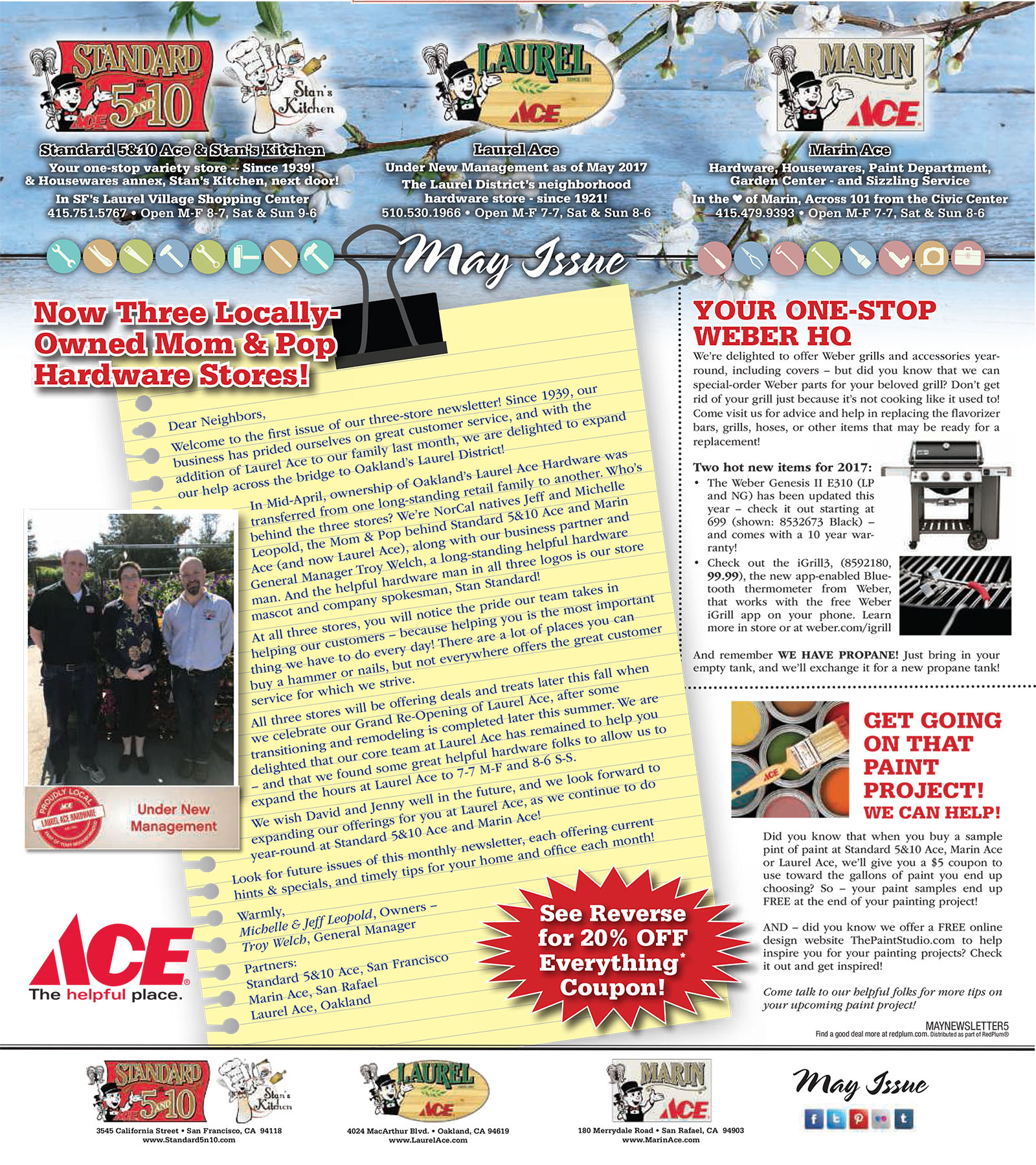May Standard 5n10 -Marin Ace - Laurel Ace Newsletter