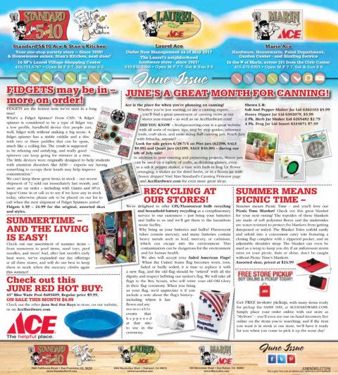 June 2017 Standard 5&10 Ace – Laurel Ace – Marin Ace Monthly Newsletter