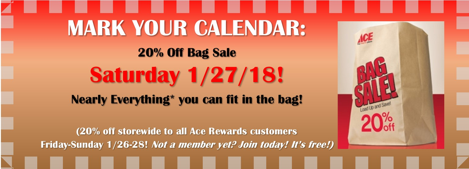 1/27/18 20% Off Bag Sale