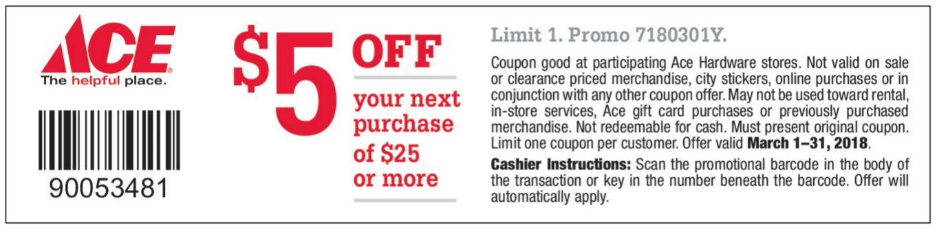 March $5 off $25 coupon