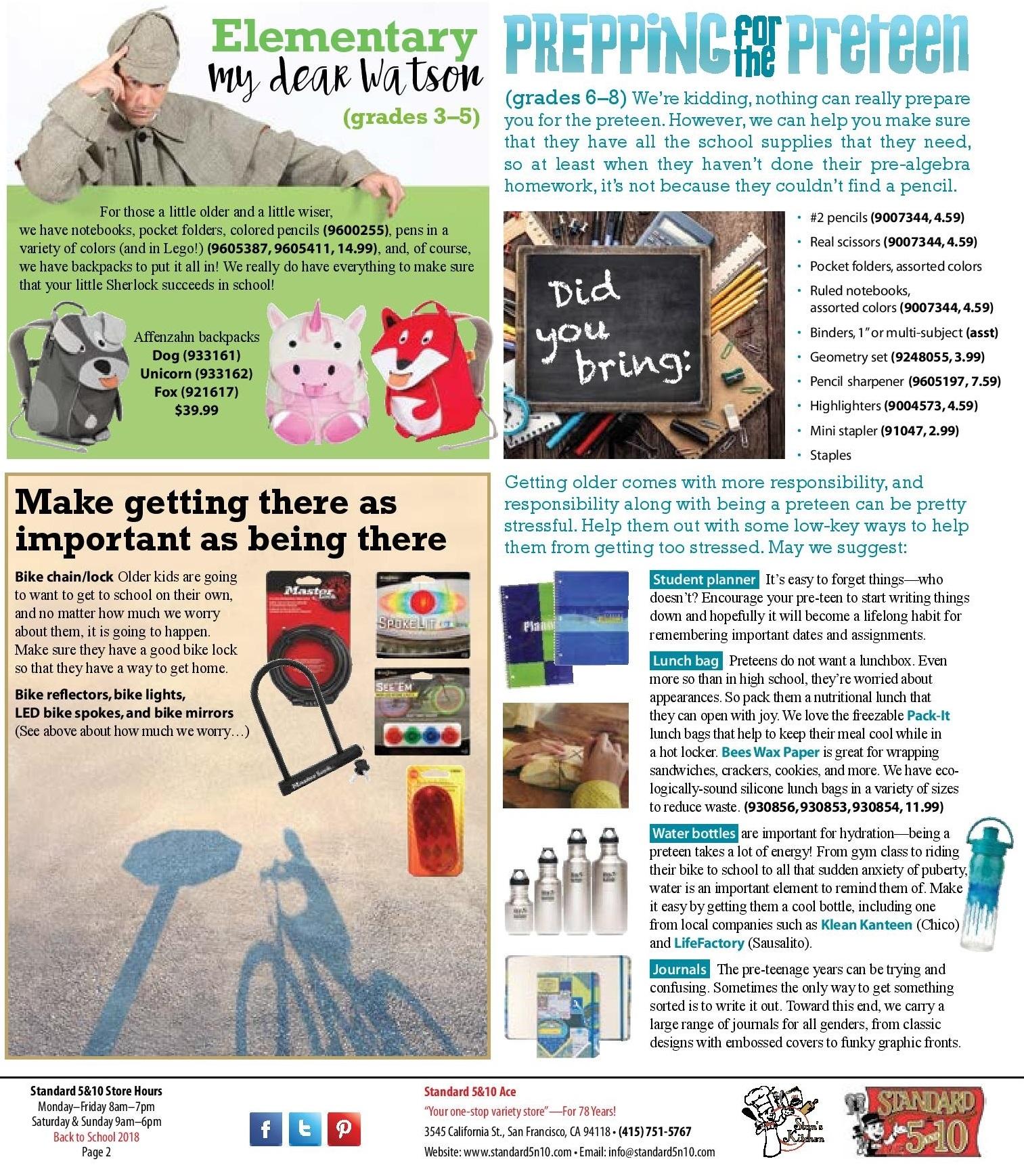 Standard 5&10 August 2018 Back to School Newsletter