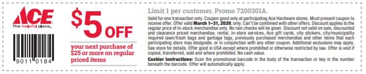 March 5 off 25 coupon