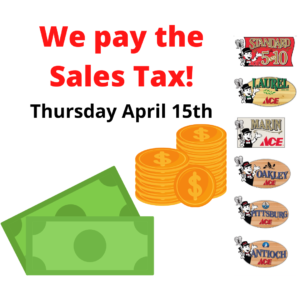 We Pay the Sales Tax 4/15