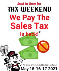 May 15-17 - We Pay the Sales Tax
